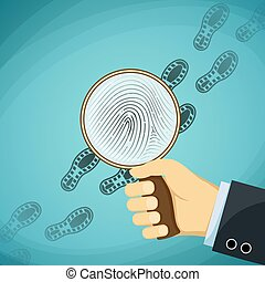 Detective holding a magnifying glass. Fingerprint. Stock...