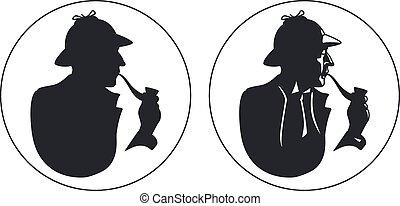 detective, holmes, fumador, silhouette., tubo, sherlock