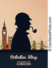 detective, holmes., illustration., grande, panadero,...