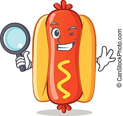 Detective Hot Dog Cartoon Character