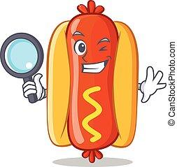 Detective Hot Dog Cartoon Character