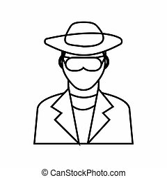 Detective icon, outline style