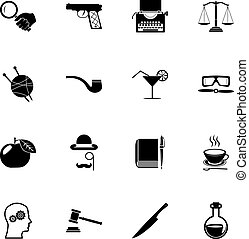 Detective Icons and Symbols Isolated Silhouette Set Vector Illustration