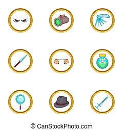 Detective icons set, cartoon style