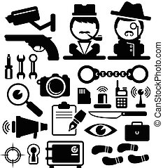 Detective icons set . vector