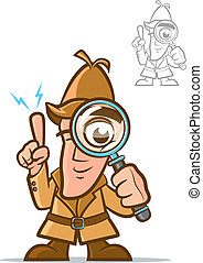 Detective - Illustration of a classic sleuth with magnifying...