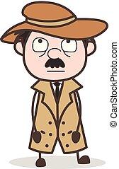 detective, illustrazione, faccia, vettore, innocente, espressione, cartone animato