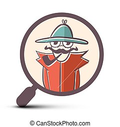 Detective in Magnifying Glass Icon - Vector