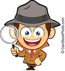 detective, inclinandosi, un, vuoto, blocco