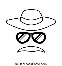 Detective incognito icon, outline style