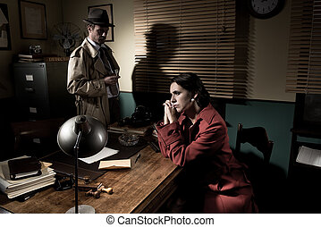 Detective interviewing a young pensive woman in his office -...