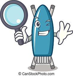 Detective iron board character cartoon vector illustration