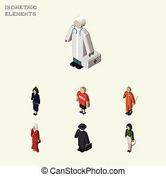 detective, isometric, set, reinigingsmachine, elements., mensen, kerel, omvat, anderen, ook, vector, pedagoog, objects., meisje, detective