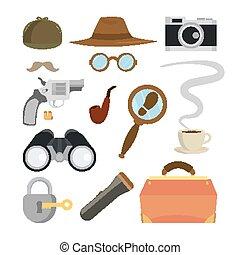 Detective Items Set Vector. Tec Agent Accessories. Hat, Glasses, Mustache, Tobacco, Camera, Magnifying Glass, Lock, Key, Flashlight, Binoculars, Bag, Gun, Bullets. Isolated Flat Cartoon Illustration