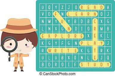 detective, jongen, illustratie, woorden, vinden, geitje