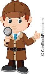 detective, jongen, spotprent