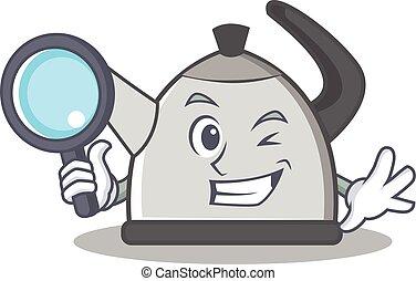 Detective kettle character cartoon style vector illustration