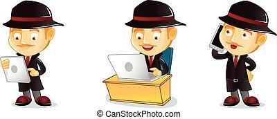 detective, laptop, vettore, arte