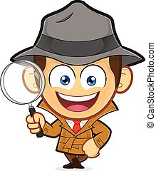 Detective leaning on an empty block - Clipart picture of a...