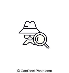 Detective linear icon concept. Detective line vector sign, symbol, illustration.