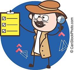 detective, lista, esposizione, illustrazione, vettore, asse, cartone animato