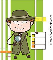 detective, lista, esposizione, illustrazione, vettore, cartone animato