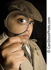Detective looking through eye glass