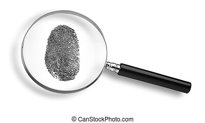 magnifying glass and thumb print on white background