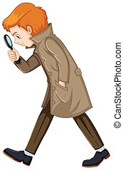 Detective man with magnifying glass