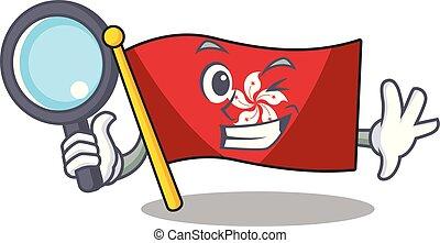 detective, mascota, pared, hongkong, clings, bandera