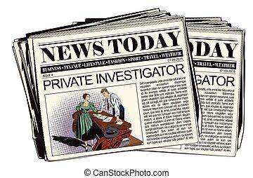 detective, meisje, particulier, krant.