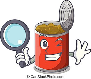 Detective metal food cans on a cartoon vector illustration
