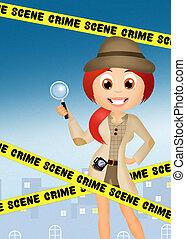 detective, niña
