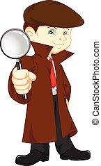 detective, niño, caricatura