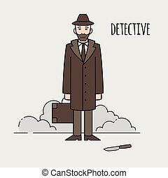 Detective occupation character design, cartoon line style. Design elements and icons. Man character.