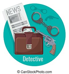 Detective officer accessories set inside isolated blue circle