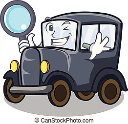 Detective old car isolated in the cartoon