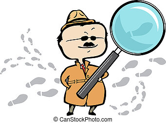 Detective or private investigator with a magnifying glass and footprints - vector illustration - The document can be scaled to any size without loss of quality.