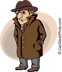 Detective or spy man in cartoon style for security concept...