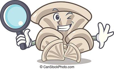 Detective oyster mushroom character cartoon