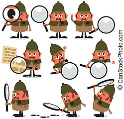 Set of 9 illustrations of cartoon detective. No transparency and gradients used.
