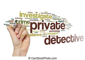 detective, palabra, privado, nube