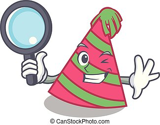 Detective party hat character cartoon vector illustration