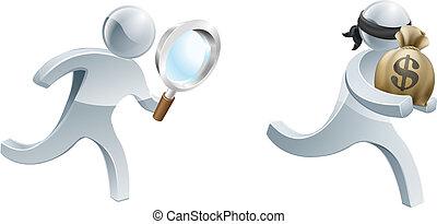 detective, perseguir, ladrón
