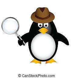 detective, pingüino, con, aumentar