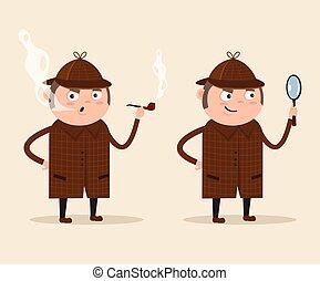 detective, plat, karakter, illustratie, vergroten, kijkend glas, vector, door, pipe., smoking, het glimlachen, spotprent, man