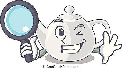 Detective porcelain teapot ceramic isolate on mascot