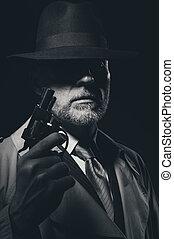detective, retrato, estilo, 1950s