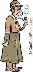 detective, retro, illustratie, spotprent