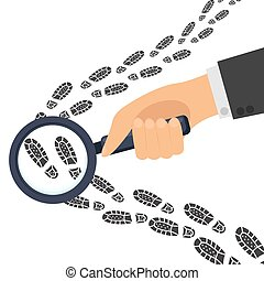 Detective s hand holds a magnifying glass traces with footprints. Investigation